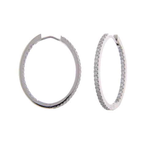 18K White Gold Diamond Hoop Earrings