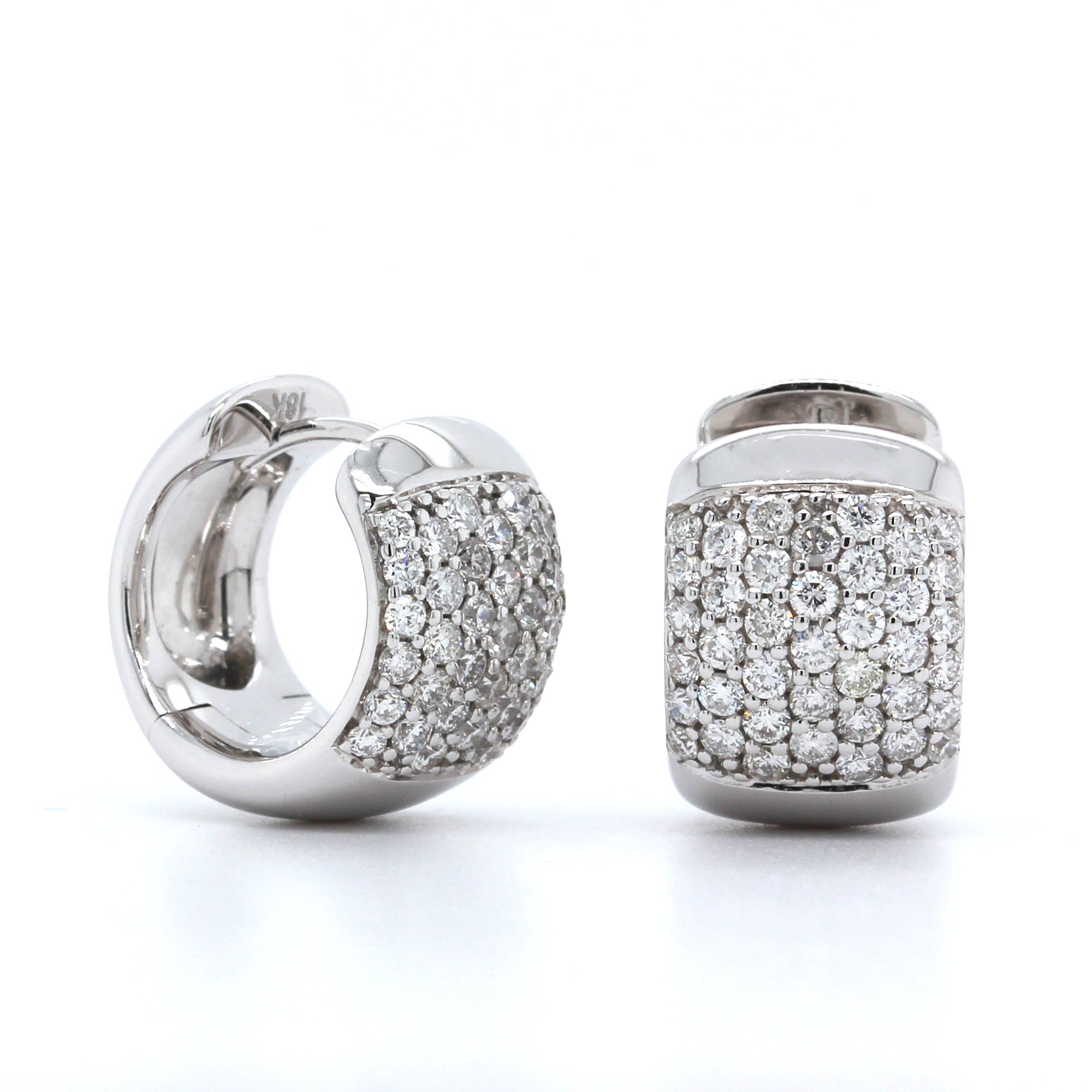 18K White Gold Pave Wide Huggie Earrings