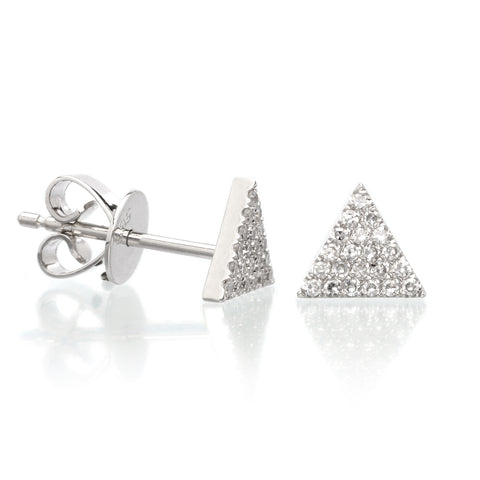 14K White Gold Diamond Triangle Studs