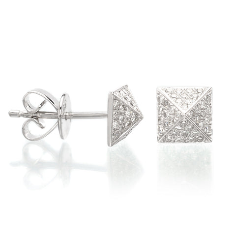 Delicati 18K Yellow Gold & Diamond Pave Small Stud Earrings