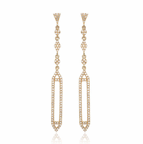 14K Yellow Gold Diamond Dangle Earrings