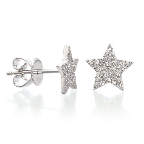 14K White Gold Diamond Star Studs