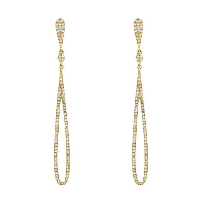 14K Yellow Gold Dangle Diamond Earrings