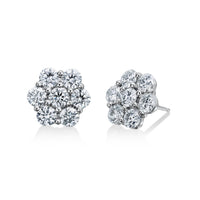 18K White Gold Diamond Cluster Stud Earrings (One-Of-A-Kind Collection)