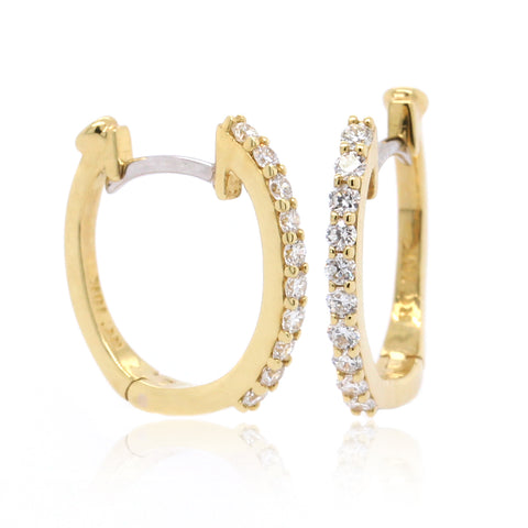 18K Yellow Gold Diamond Baby Hoop Earrings