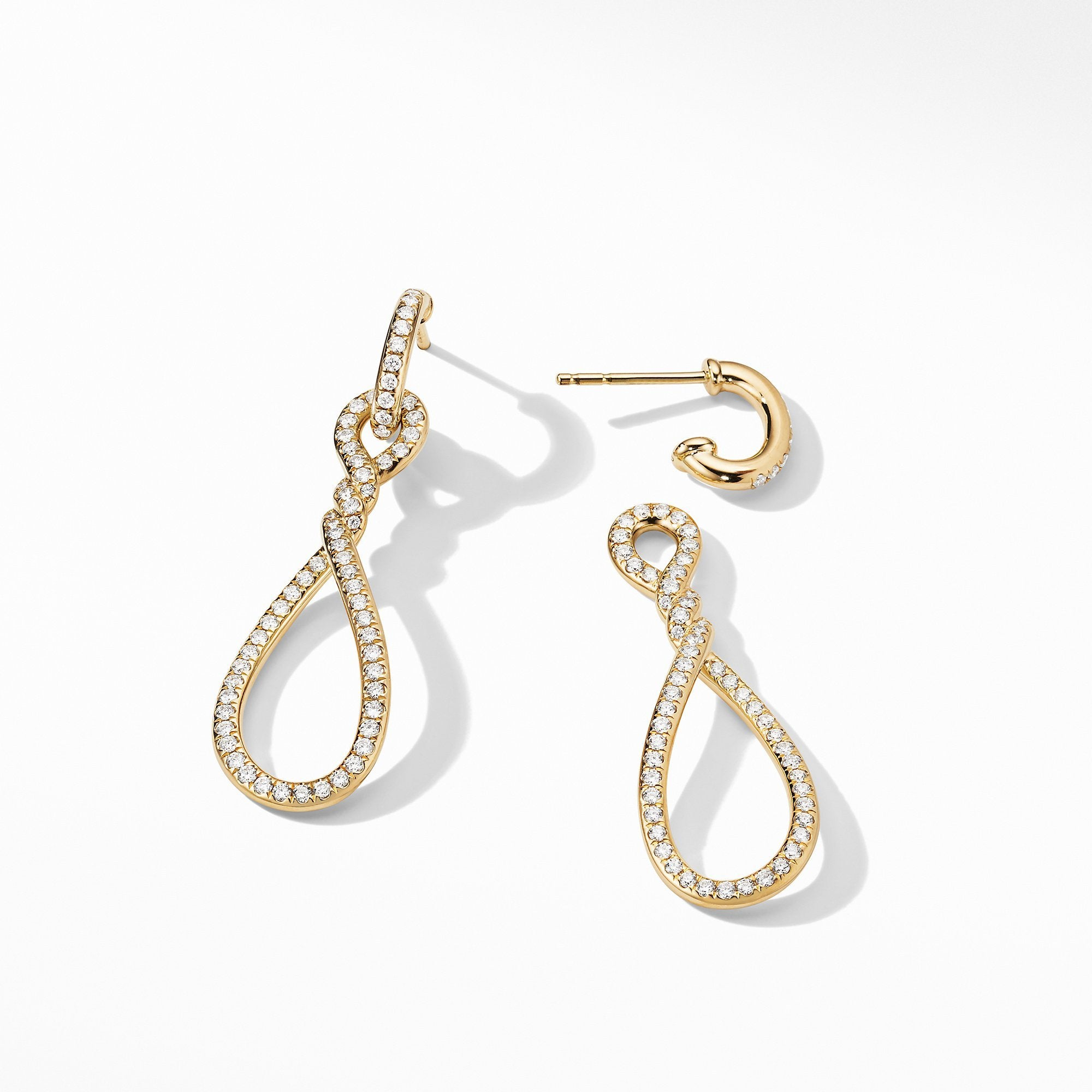 Continuance® Full Pavé Small Drop Earrings in 18K Yellow Gold