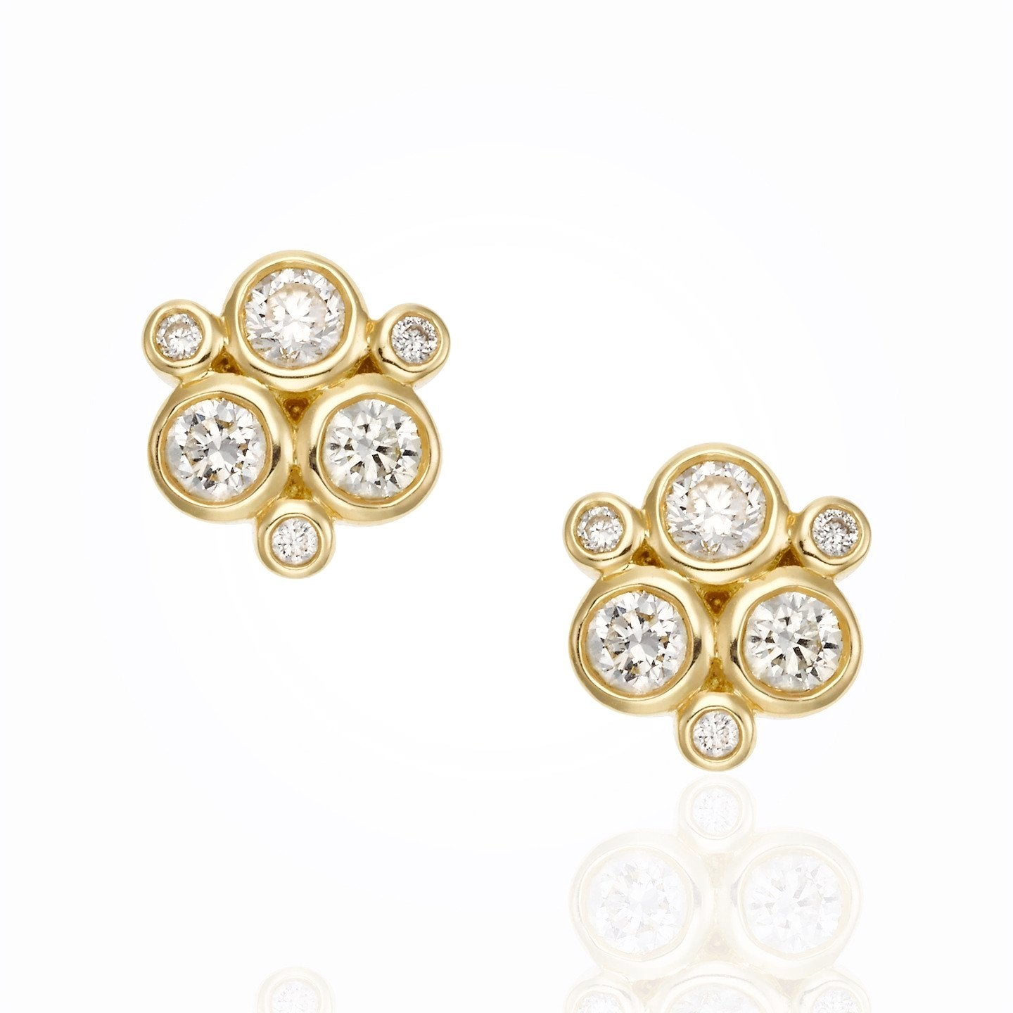 18K Yellow Gold Classic Trio Earring with Diamond