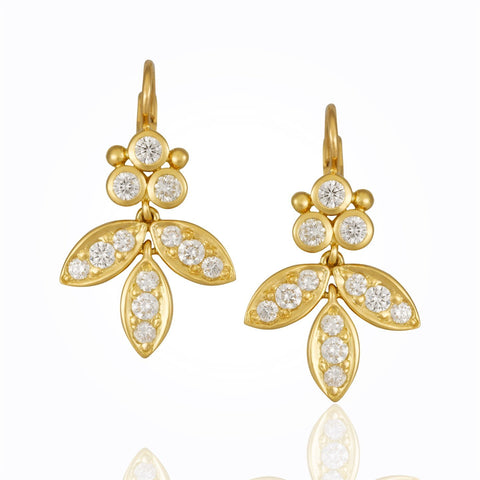 18K Yellow Gold Foglia Earrings with Diamond Pavé