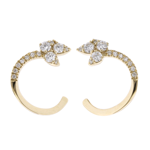 14K Yellow Gold Diamond Open Hoop Earrings