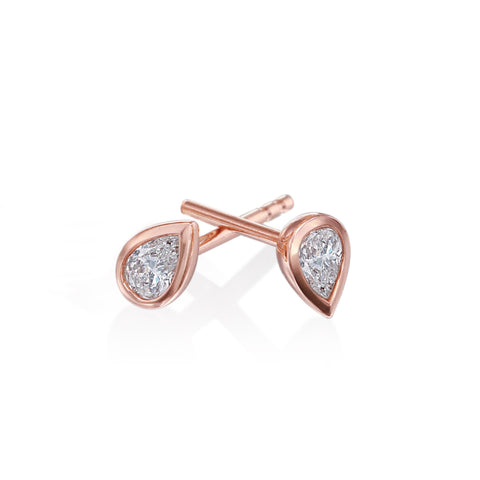 18K Rose Gold Pear Diamond Studs