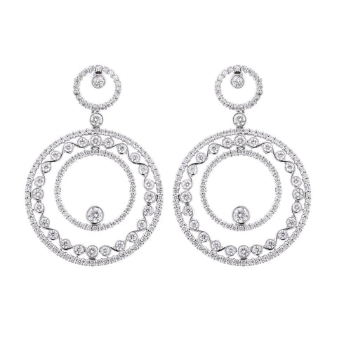 18K White Gold Multi Circle Diamond Dangle Earrings