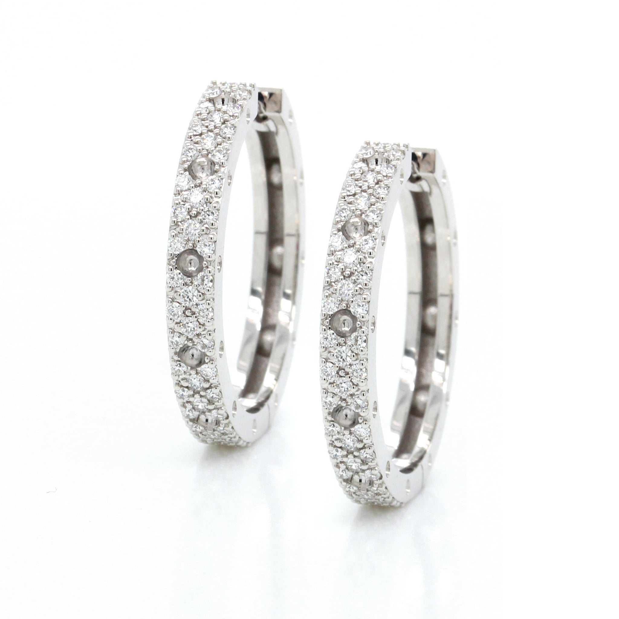 18K White Gold Diamond Pois Mois Hoop Earrings