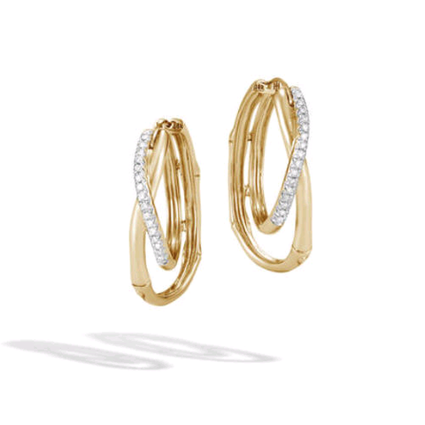 John Hardy 18K Yellow Gold Bamboo Pave Diamond Earrings