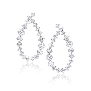 18K White Gold Diamond Loop Drop Earrings