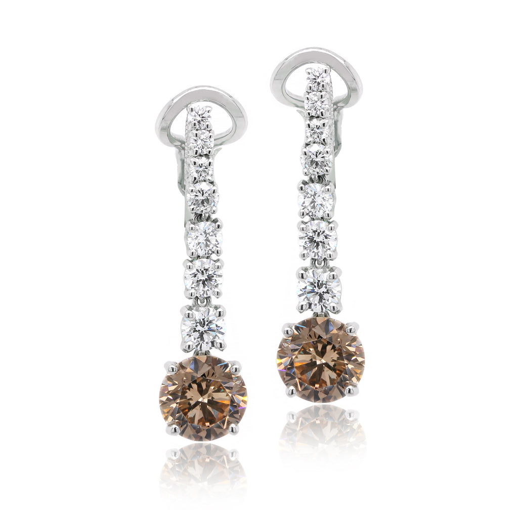 Platinum Fancy Diamond Dangling Earrings (One-Of-A-Kind Collection)