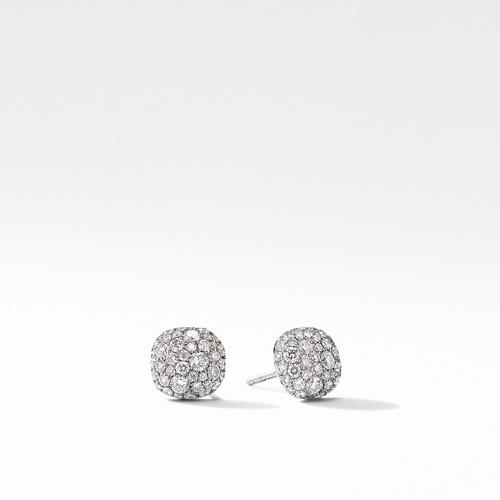Small Cushion Stud Earrings in 18K White Gold with Pavé Diamonds