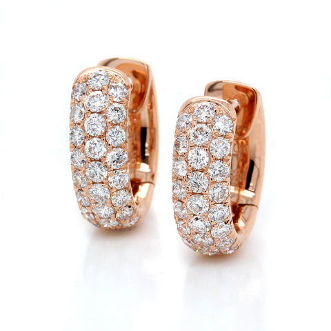 18K Rose Gold Pave Diamond Huggie Earrings