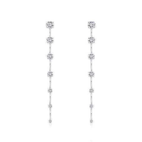18K White Gold Diamond Bar Dangle Earrings