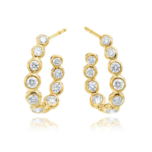 18K Yellow Gold Diamond Moonlight Hoop Earrings