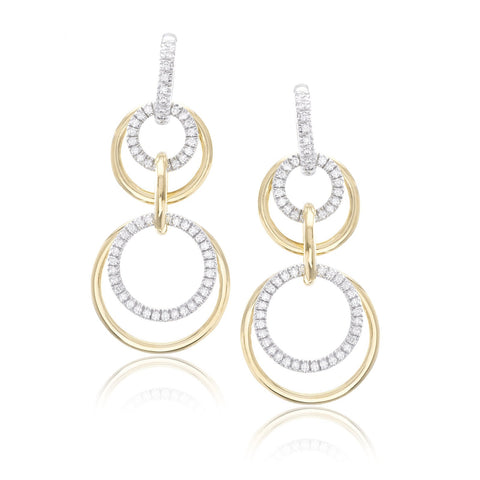 18K White and Yellow Gold Diamond Convertible Diamond Earrings