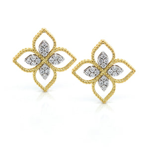 18K Yellow Gold Diamond Princess Flower Earrings