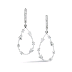 14K White Gold Dangle Diamond Earrings