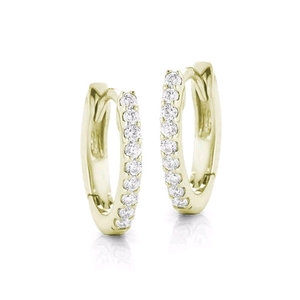 14K Yellow Gold Diamond Huggie Earrings