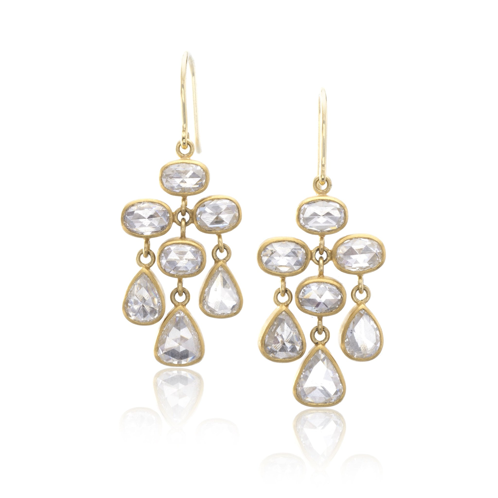 22K and 18K Yellow Gold Trapeze Diamond Earrings