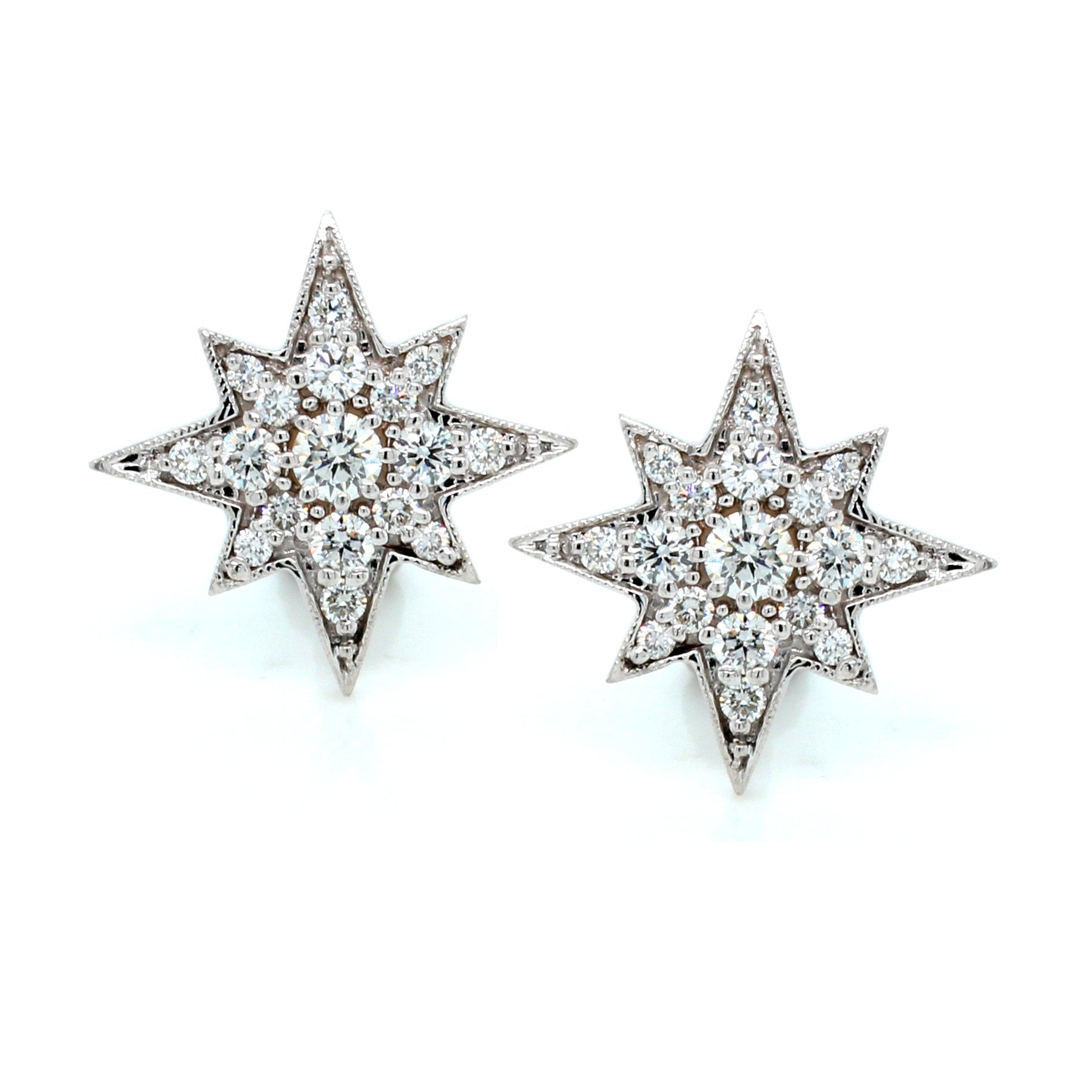 18K White Gold Diamond Starburst Stud Earrings