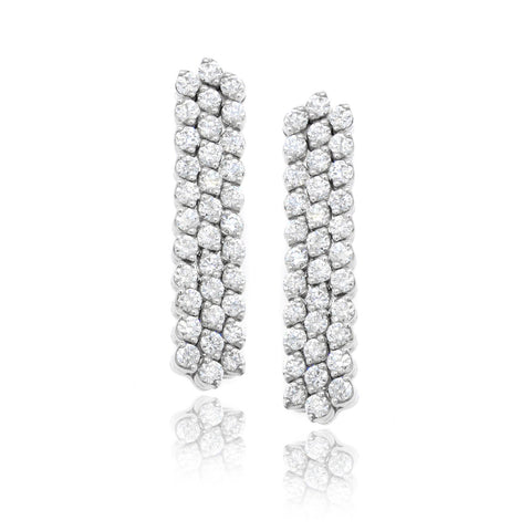 18K White Gold Three-Row Adjacent Diamond Earrings