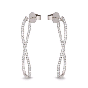 18K White Gold Diamond Twist Hoops