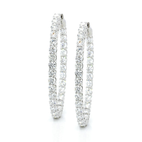 18K White Gold Oval Diamond Hoops