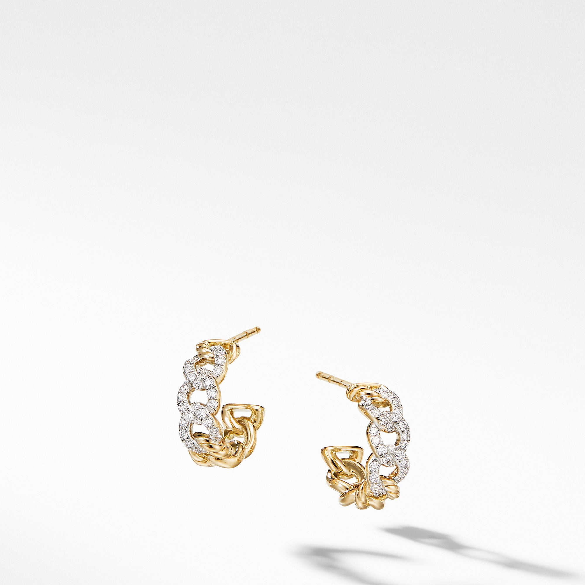 Belmont Curb Link Small Hoop Earrings in 18K Yellow Gold with Pavé Diamonds