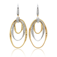 Marrakech Onde 18K Yellow and White Gold Diamond Drop Earrings