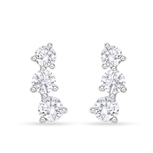 18K White Gold Diamond Climber Stud Earrings