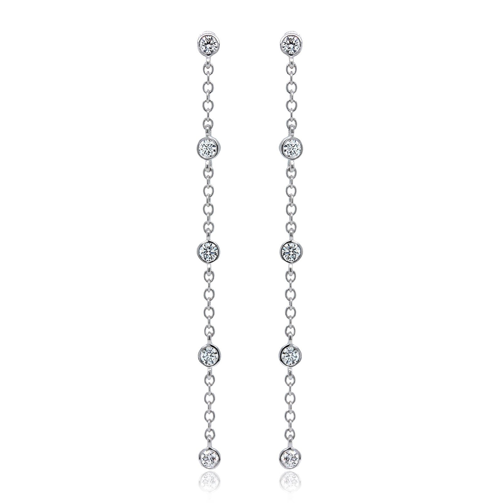 18K White Gold Five-Stone Diamond Bezel Drop Earrings