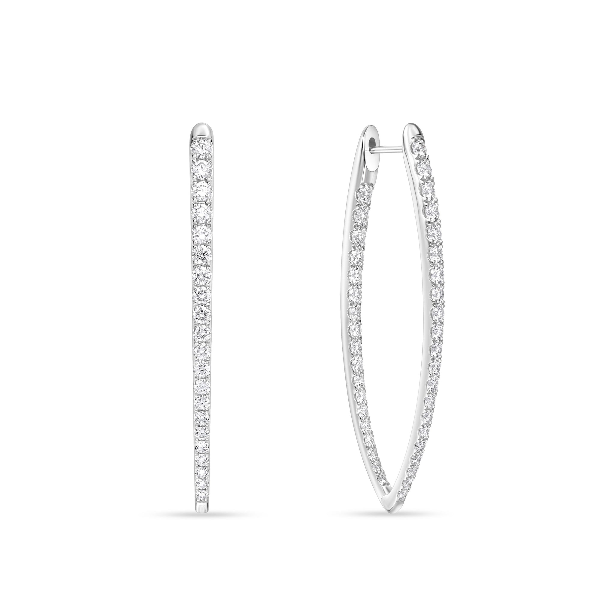 18K White Gold V Shaped Diamond Earrings