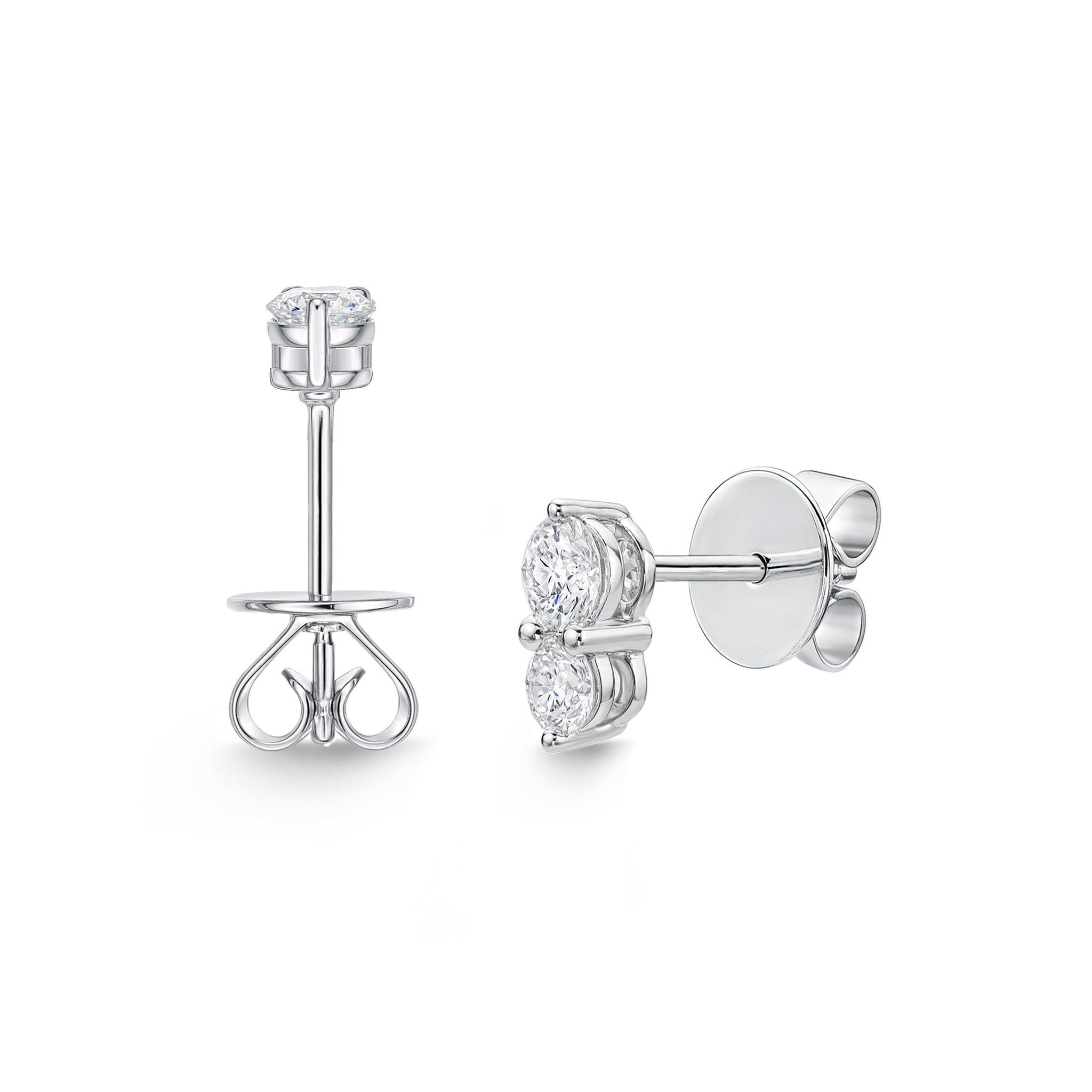 18K White Gold 2 Stone Stud Earrings