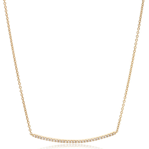 18K Yellow Gold Diamond Bar Necklace