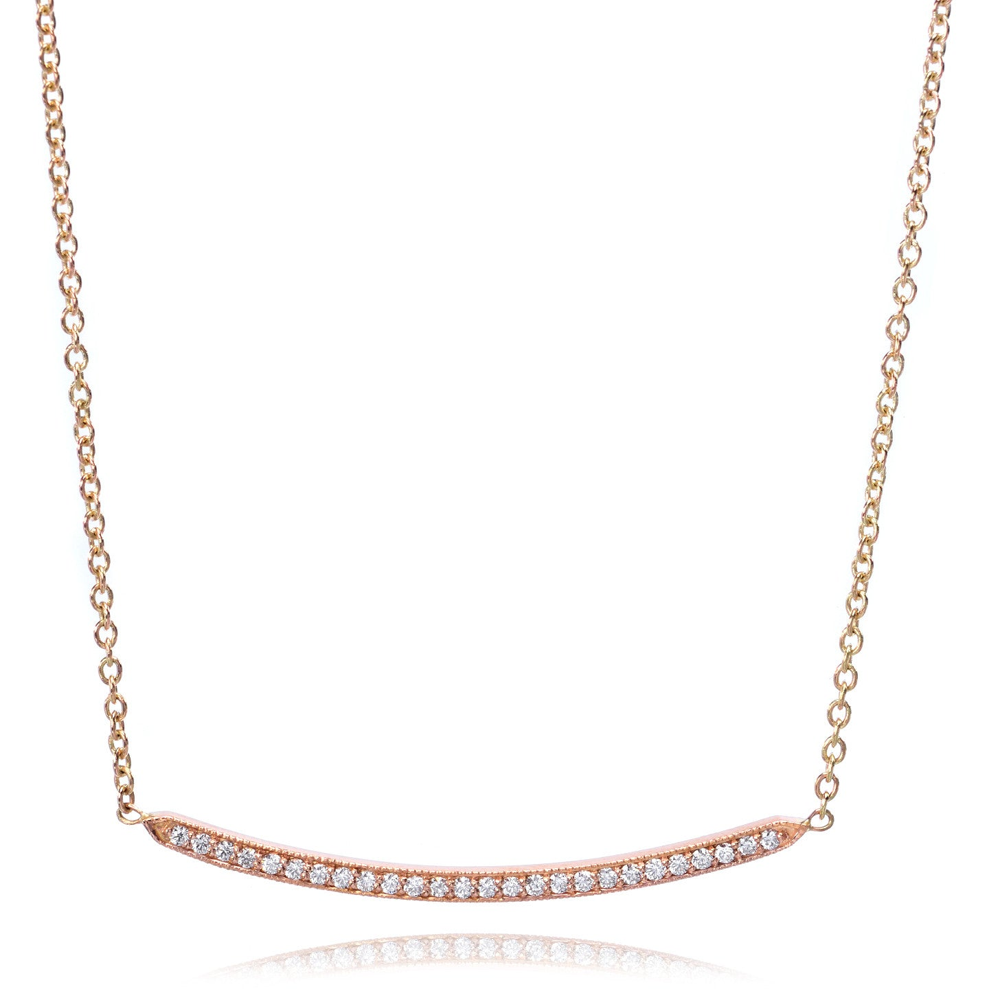 18K Rose Gold Pave Diamond Bar Necklace