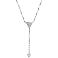 18K White Gold Arrow Diamond Necklace