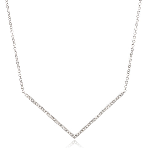 14K White Gold Diamond V Necklace