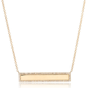 14K Yellow Gold Diamond Bar Necklace