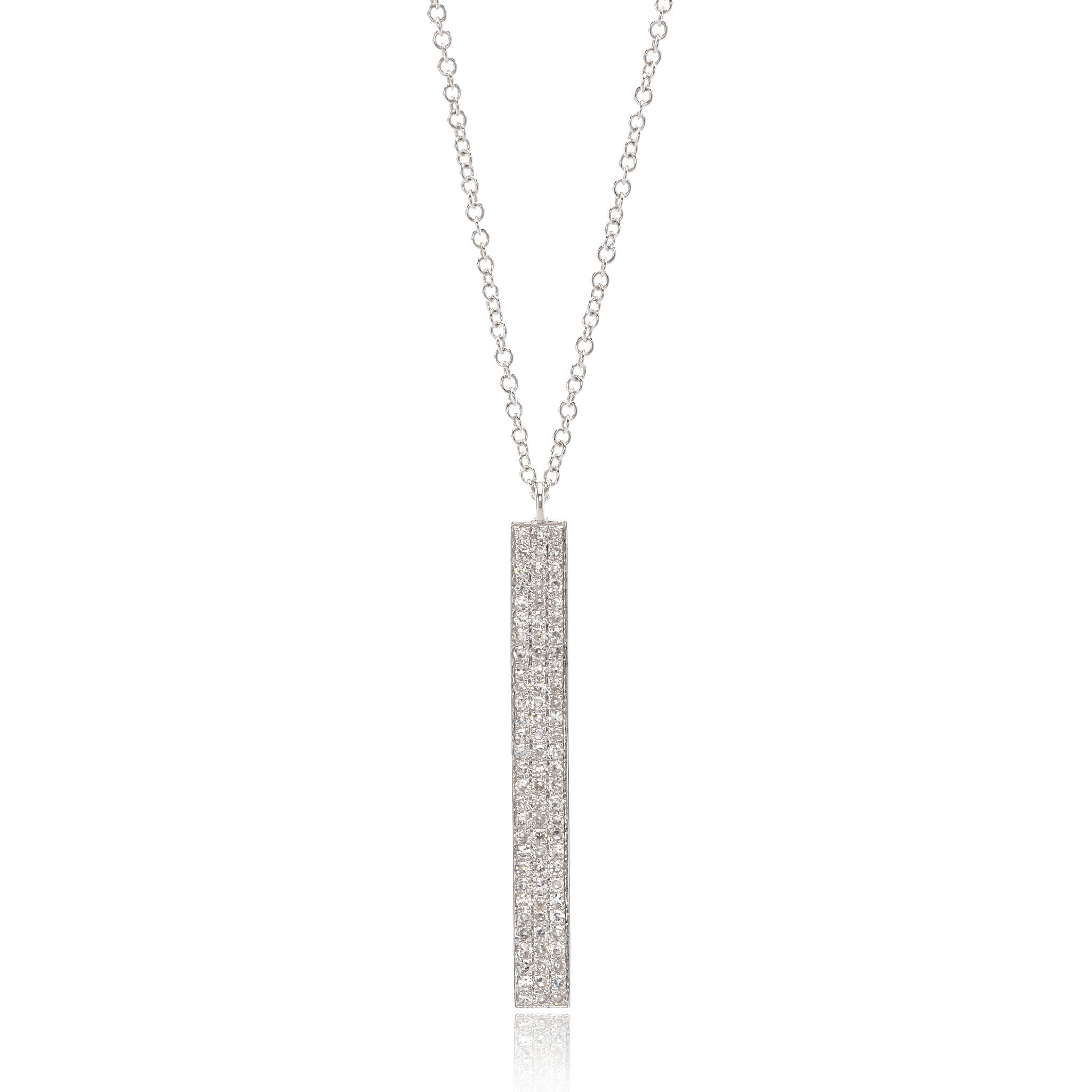 14K White Gold Vertical Diamond Bar Necklace
