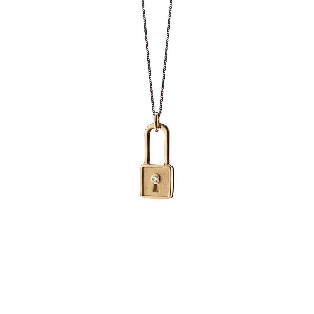 Square Lock Charm Necklace