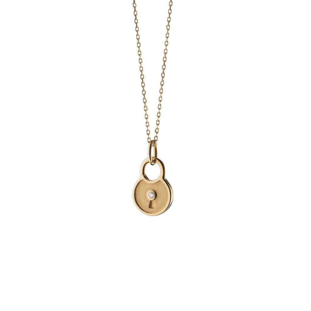 Round Lock Charm Necklace