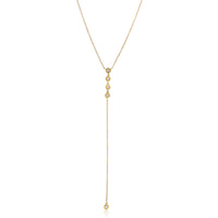 14K Yellow Gold Five Diamond Station Necklace