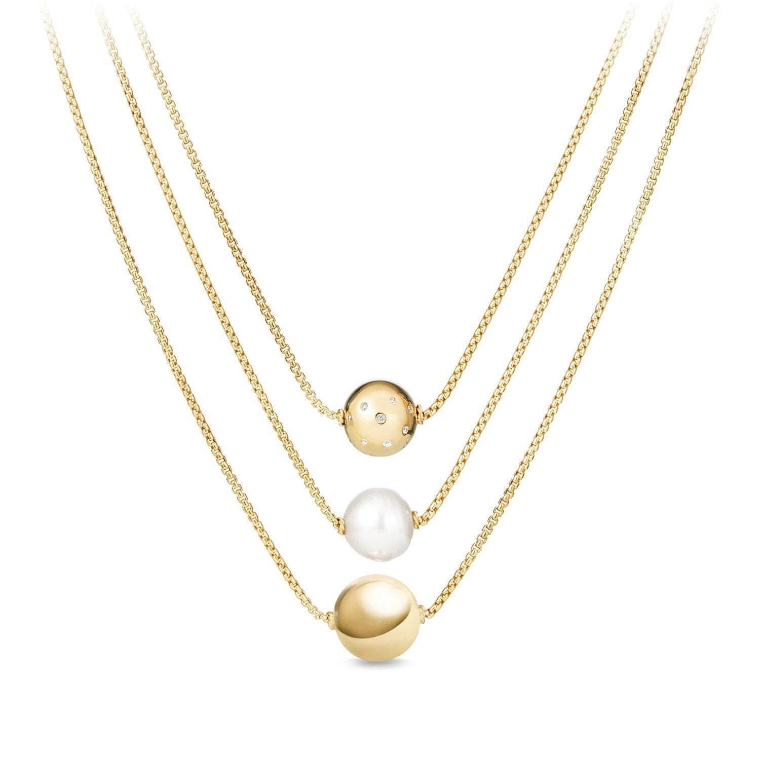 Solari Triple Drop Necklace with Diamonds in 18K Gold