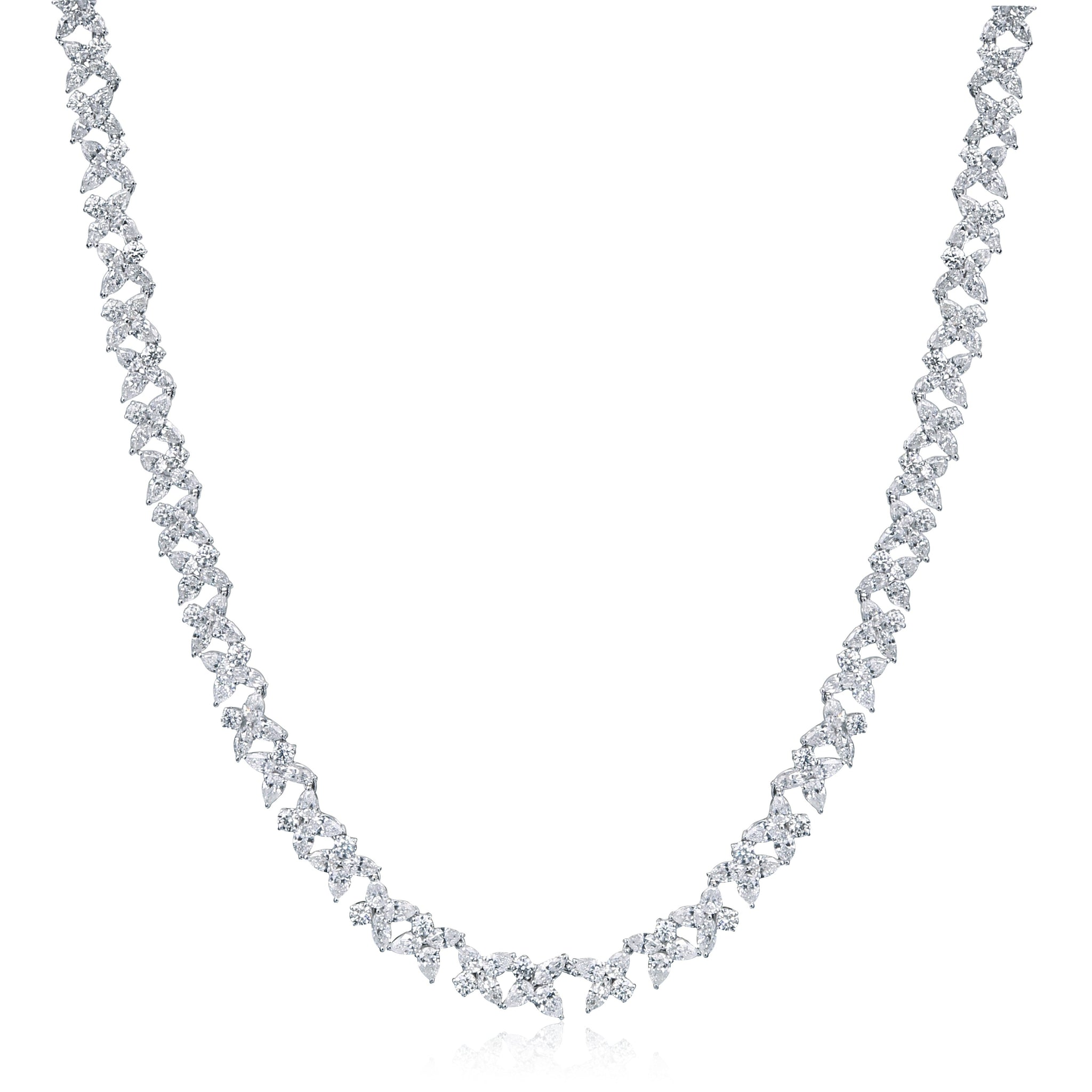 18K White Gold Diamond Floral Necklace