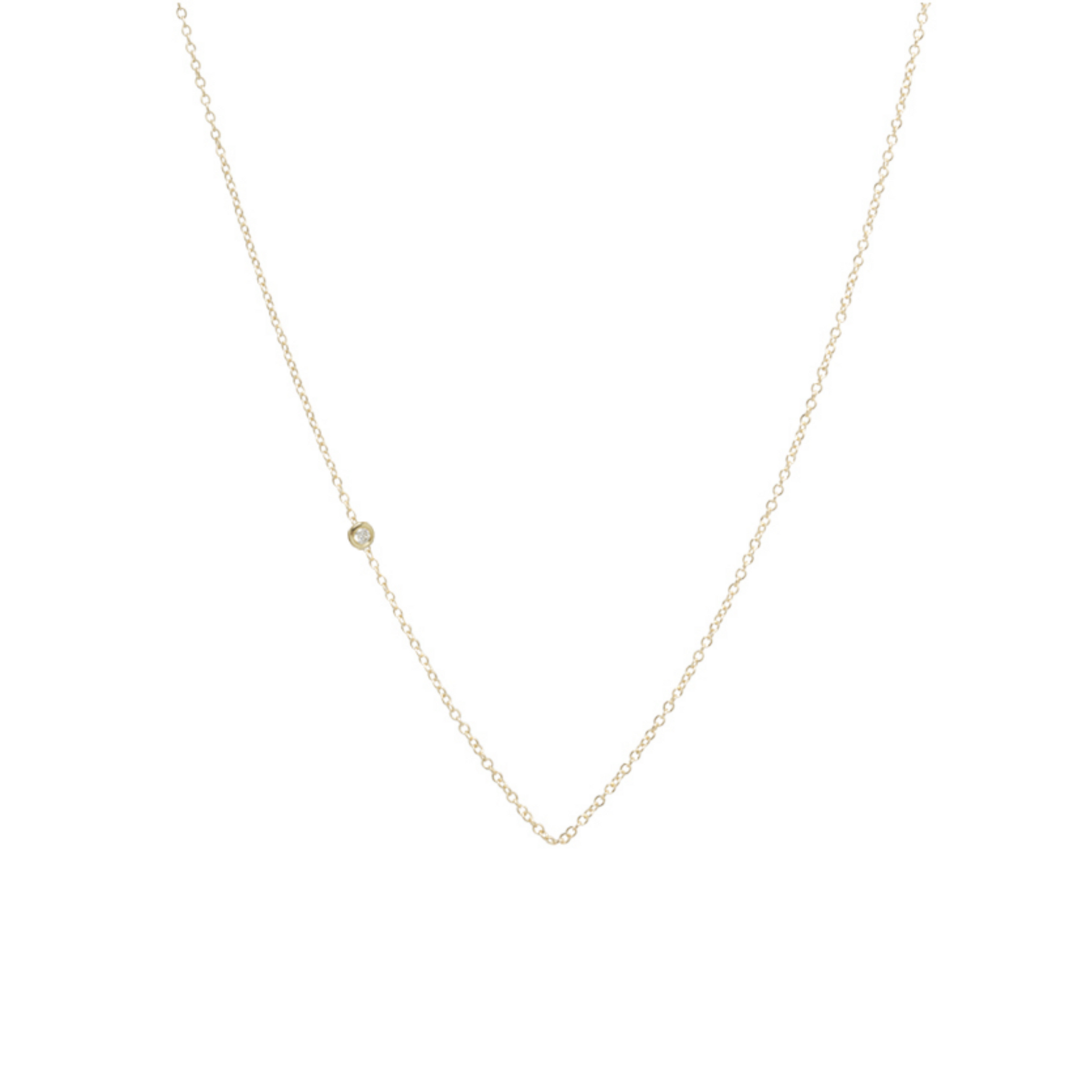 14K Yellow Gold Floating Diamond Necklace